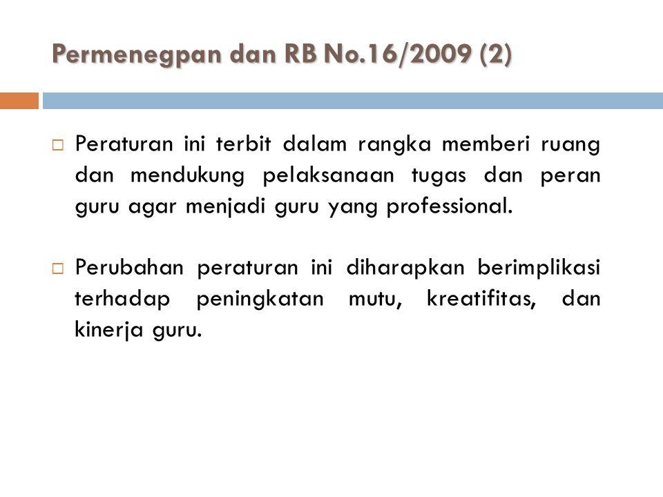 Permenegpan dan RB No.16/2009 (2)  Peraturan ini terbit dalam rangka memberi ruang dan mendukung pelaksanaan tugas dan peran guru agar menjadi guru y