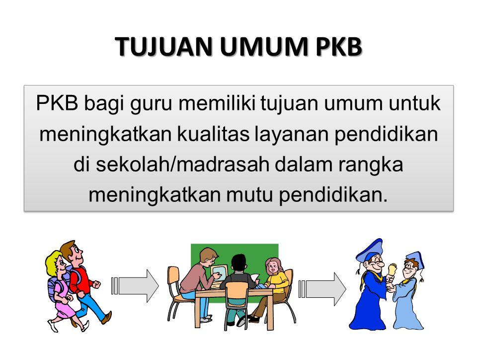 TUJUAN UMUM PKB PKB bagi guru memiliki tujuan umum untuk meningkatkan kualitas layanan pendidikan di sekolah/madrasah dalam rangka meningkatkan mutu p