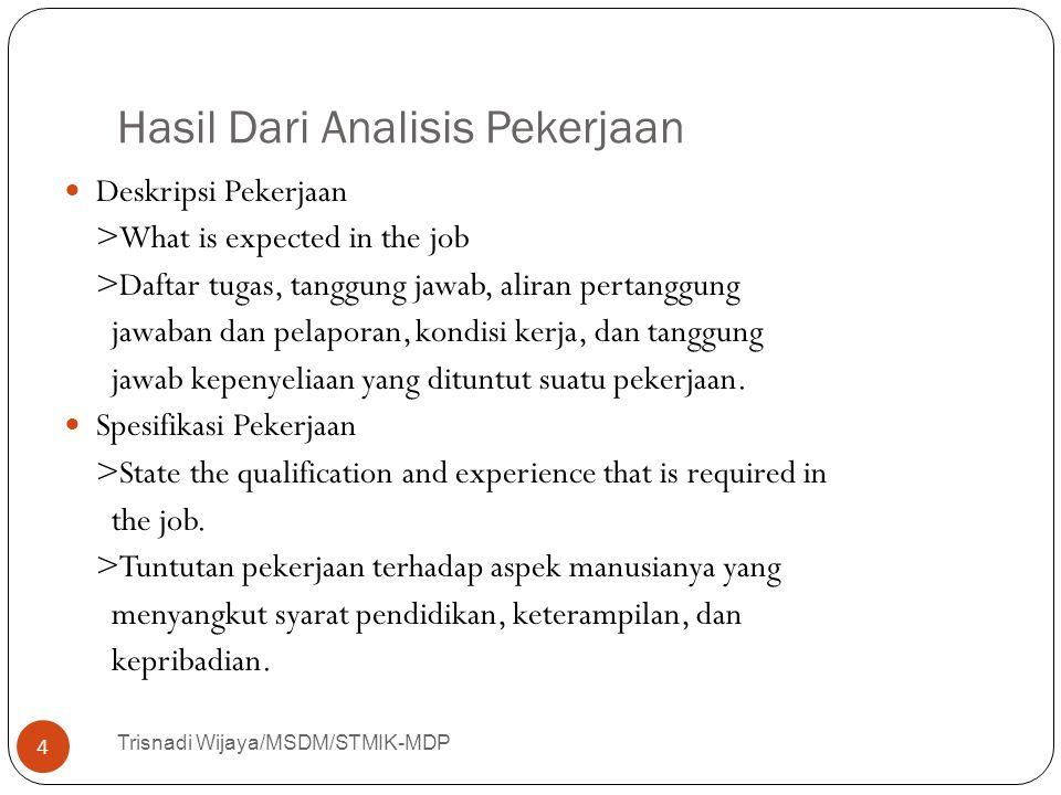 Hasil Dari Analisis Pekerjaan Trisnadi Wijaya/MSDM/STMIK-MDP 4 Deskripsi Pekerjaan >What is expected in the job >Daftar tugas, tanggung jawab, aliran