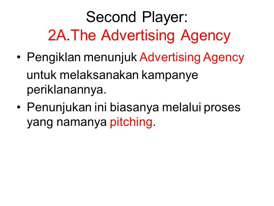 Second Player: 2A.The Advertising Agency Pengiklan menunjuk Advertising Agency untuk melaksanakan kampanye periklanannya. Penunjukan ini biasanya mela
