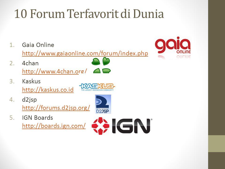 10 Forum Terfavorit di Dunia 1.Gaia Online http://www.gaiaonline.com/forum/index.php http://www.gaiaonline.com/forum/index.php 2.4chan http://www.4cha