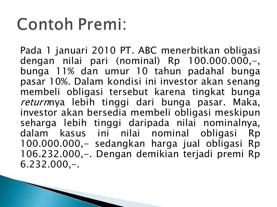 Pada 1 januari 2010 PT. ABC menerbitkan obligasi dengan nilai pari (nominal) Rp 100.000.000,-, bunga 11% dan umur 10 tahun padahal bunga pasar 10%. Da