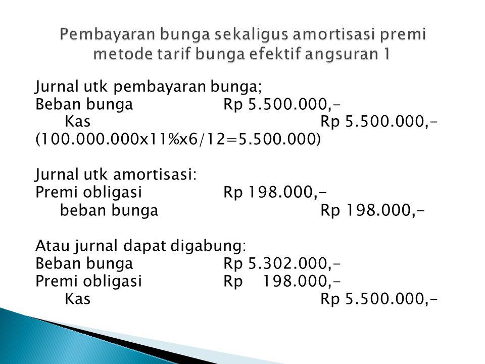 Jurnal utk pembayaran bunga; Beban bungaRp 5.500.000,- KasRp 5.500.000,- (100.000.000x11%x6/12=5.500.000) Jurnal utk amortisasi: Premi obligasi Rp 198