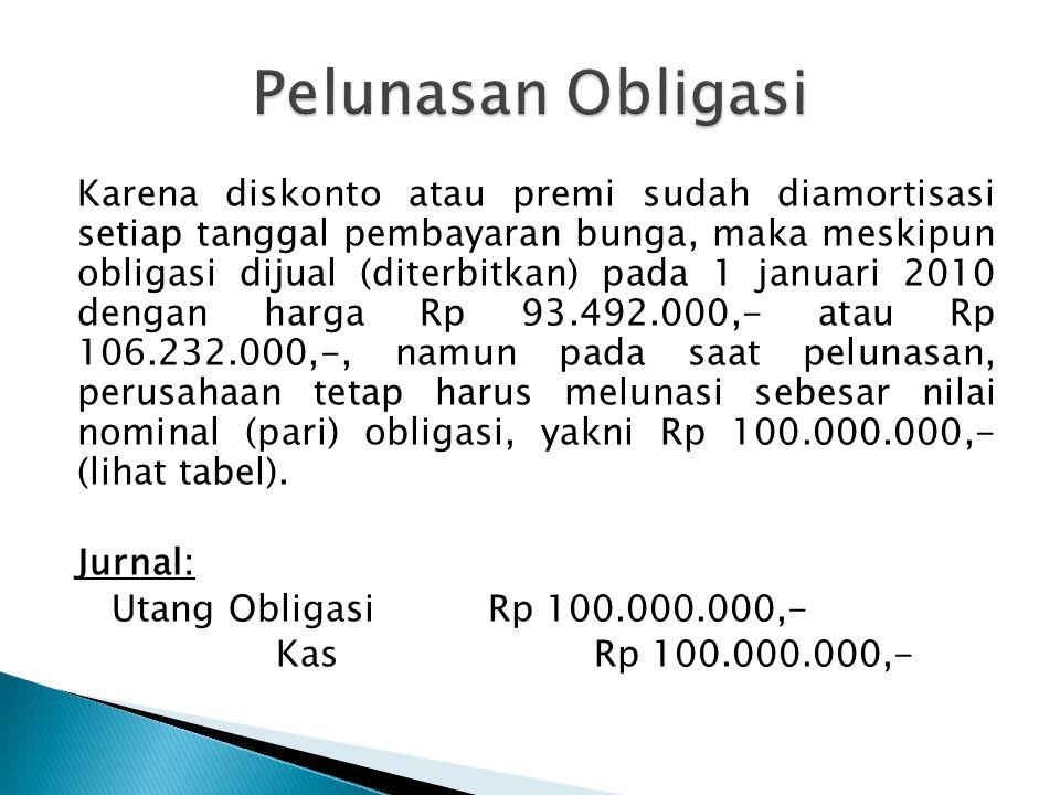 Karena diskonto atau premi sudah diamortisasi setiap tanggal pembayaran bunga, maka meskipun obligasi dijual (diterbitkan) pada 1 januari 2010 dengan