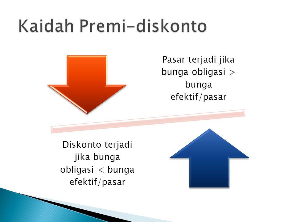 Pasar terjadi jika bunga obligasi > bunga efektif/pasar Diskonto terjadi jika bunga obligasi < bunga efektif/pasar