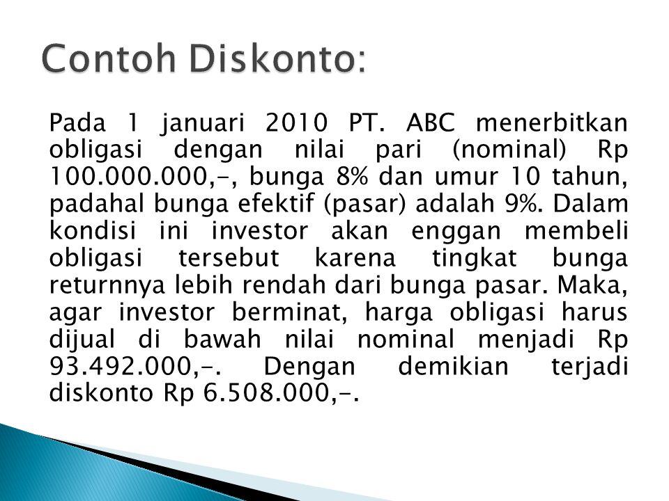 Pada 1 januari 2010 PT. ABC menerbitkan obligasi dengan nilai pari (nominal) Rp 100.000.000,-, bunga 8% dan umur 10 tahun, padahal bunga efektif (pasa