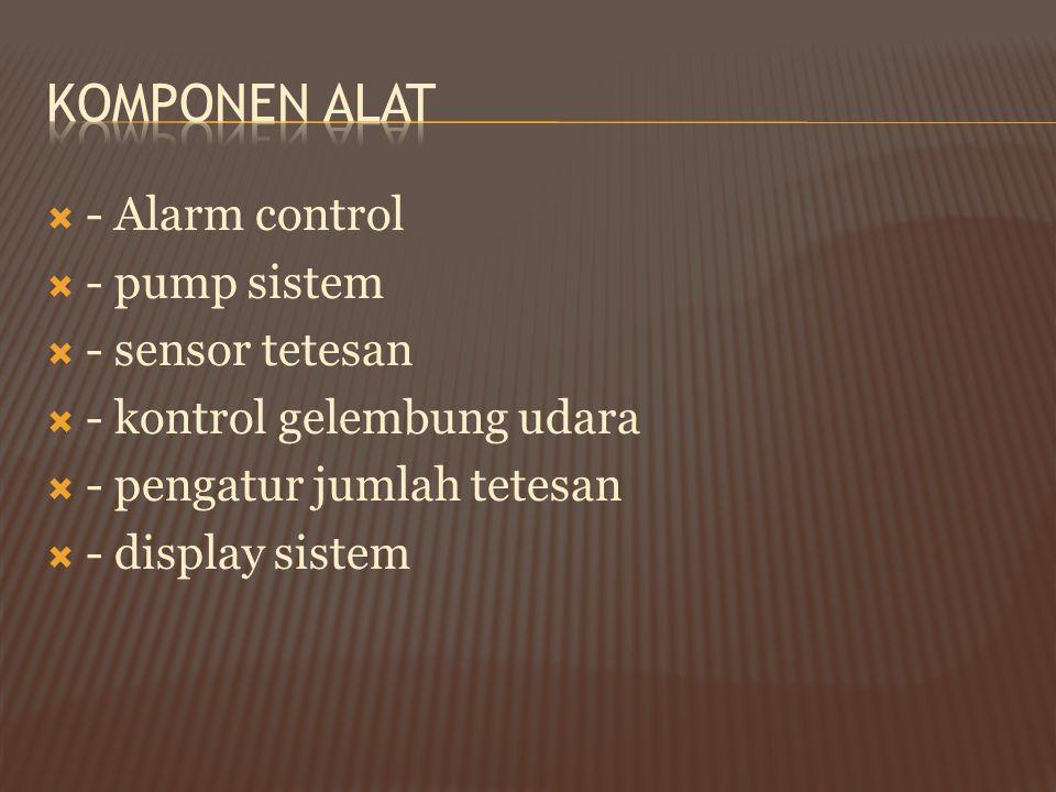  - Alarm control  - pump sistem  - sensor tetesan  - kontrol gelembung udara  - pengatur jumlah tetesan  - display sistem