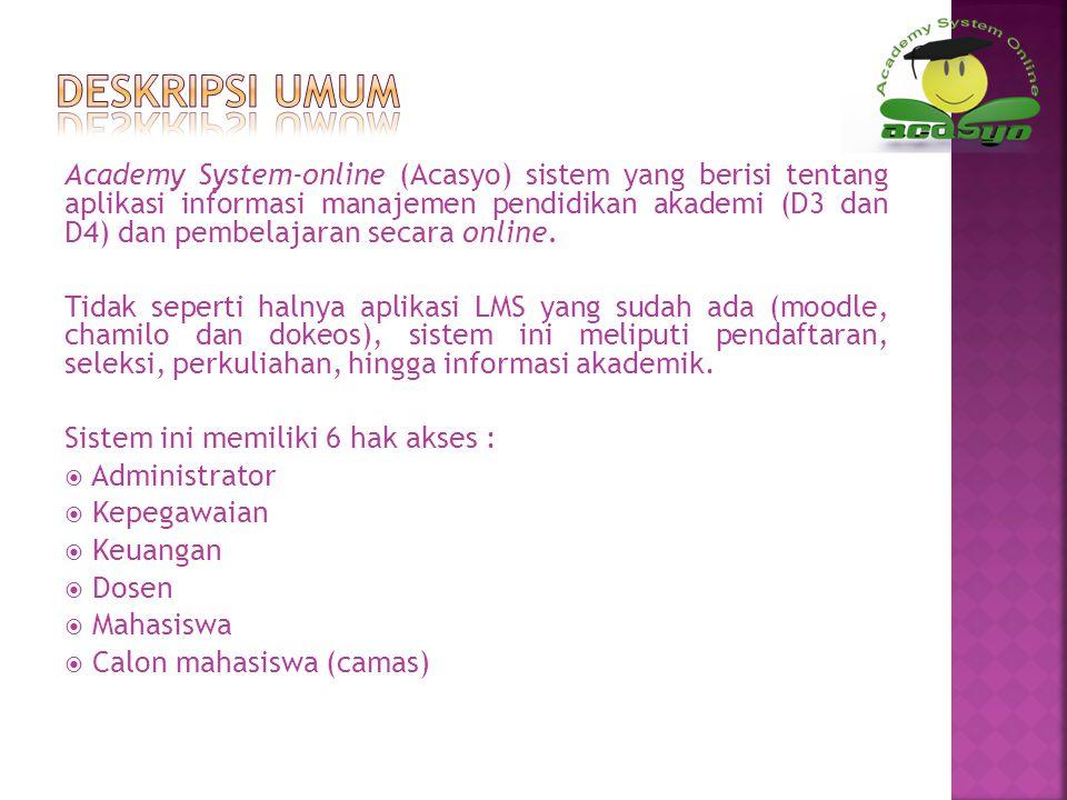 Academy System-online (Acasyo) sistem yang berisi tentang aplikasi informasi manajemen pendidikan akademi (D3 dan D4) dan pembelajaran secara online.