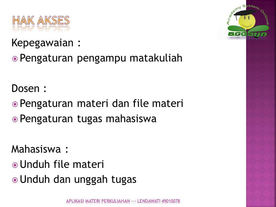 Kepegawaian :  Pengaturan pengampu matakuliah Dosen :  Pengaturan materi dan file materi  Pengaturan tugas mahasiswa Mahasiswa :  Unduh file mater