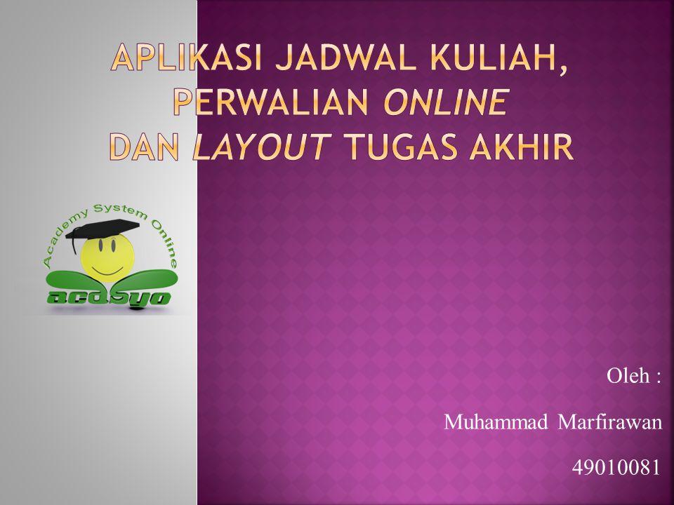 Oleh : Muhammad Marfirawan 49010081