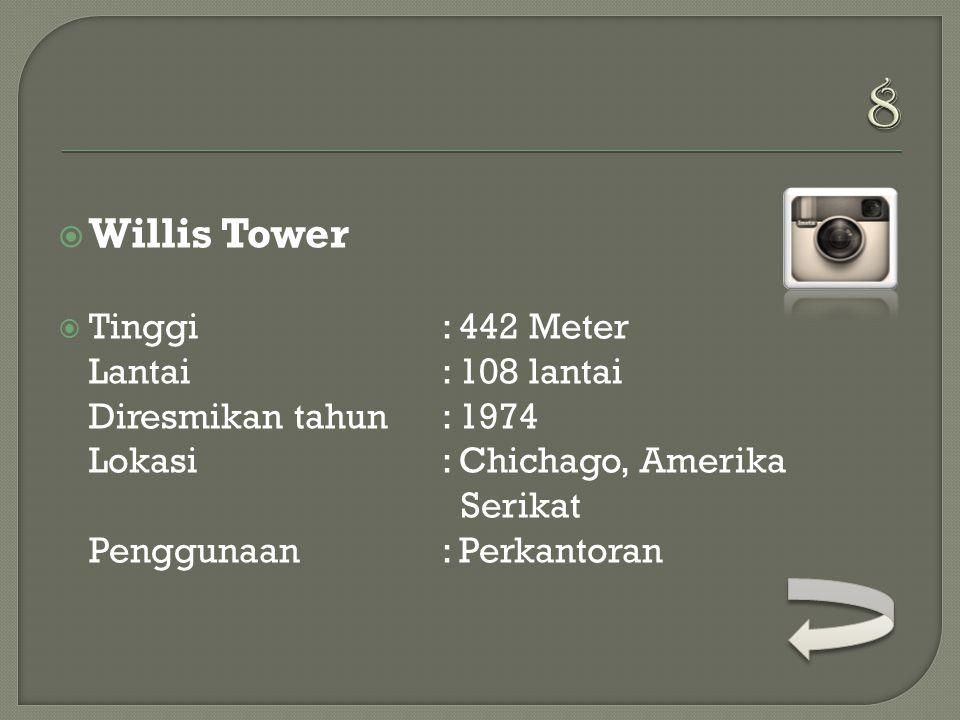  Zifeng Tower  Tinggi : 450 Meter Lantai: 66 lantai Diresmikan tahun: 2010 Lokasi: Nanjing, China Penggunaan: Perkantoran, Hotel Pemilik: Nanjing State Owned Assets