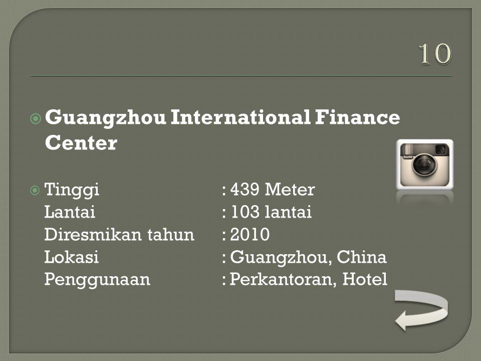  KK 100  Tinggi: 442 Meter Lantai: 100 lantai Diresmikan tahun: 2011 Lokasi: Shenzhen, China Penggunaan: Perkantoran, Hotel Pemilik: Shenzhen Kingke