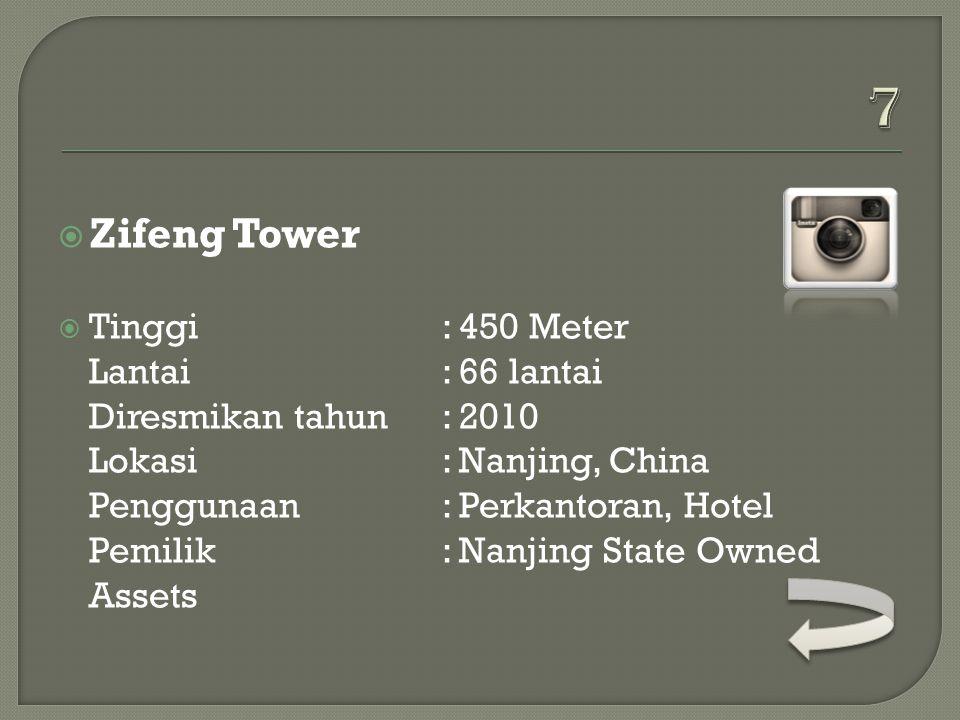  Petronas Twin Tower  Tinggi: 452 Meter Lantai: 88 lantai Diresmikan tahun: 1998 Lokasi: Kuala Lumpur, Malaysia Penggunaan: Perkantoran Pemilik: KLC