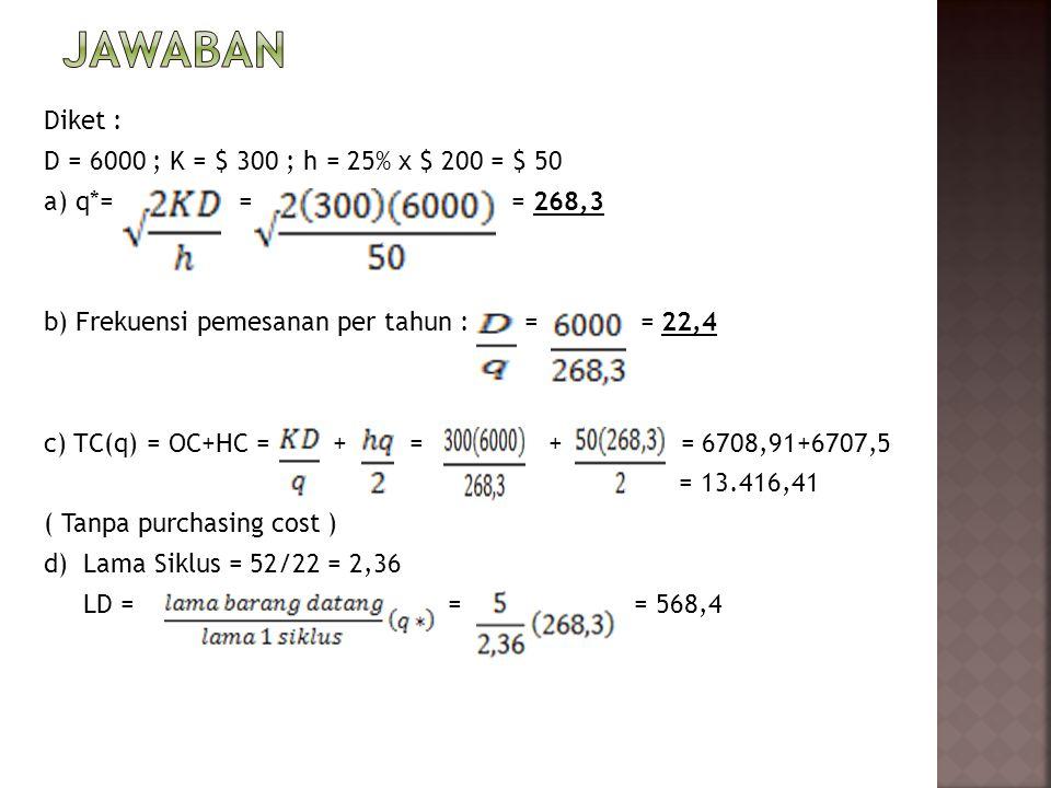 Diket : D = 6000 ; K = $ 300 ; h = 25% x $ 200 = $ 50 a) q*= = = 268,3 b) Frekuensi pemesanan per tahun : = = 22,4 c) TC(q) = OC+HC = + = + = 6708,91+6707,5 = 13.416,41 ( Tanpa purchasing cost ) d) Lama Siklus = 52/22 = 2,36 LD = = = 568,4