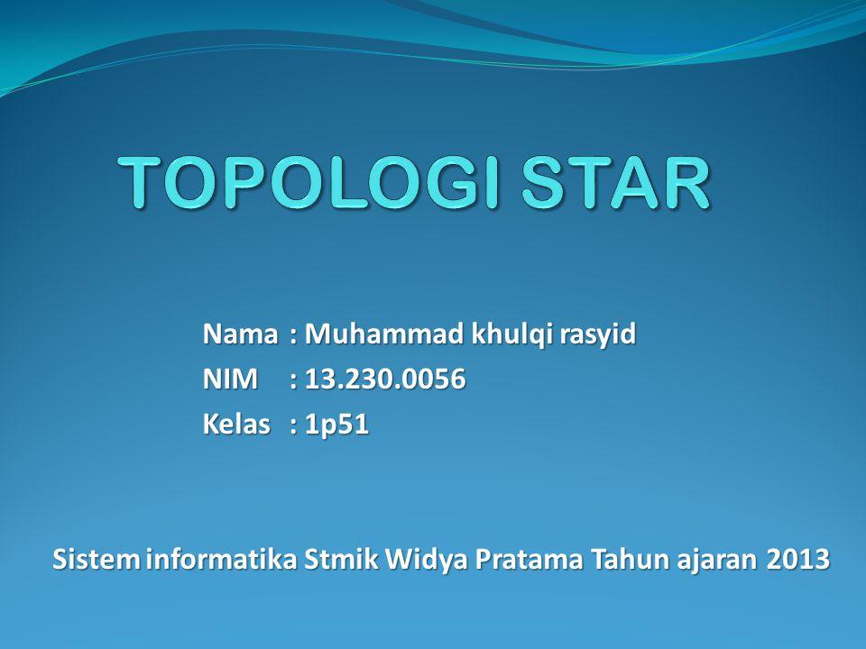 Nama: Muhammad khulqi rasyid NIM: 13.230.0056 Kelas: 1p51 Sistem informatika Stmik Widya Pratama Tahun ajaran 2013