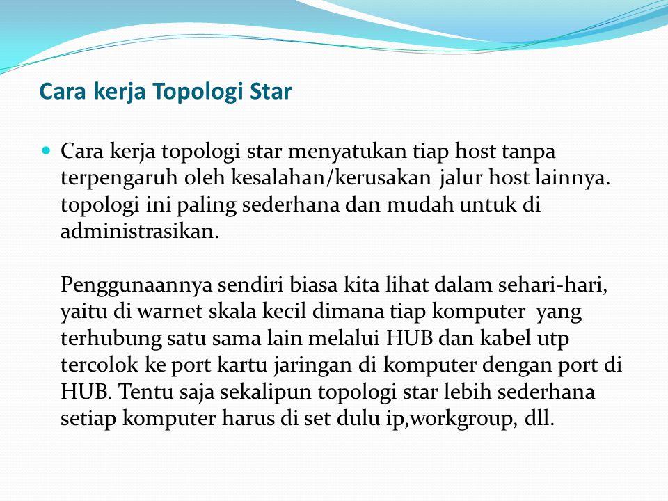 Cara kerja Topologi Star Cara kerja topologi star menyatukan tiap host tanpa terpengaruh oleh kesalahan/kerusakan jalur host lainnya.