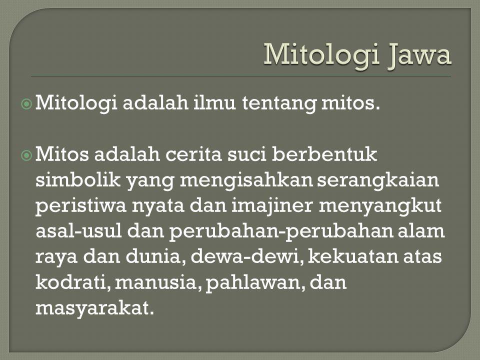  Mitologi adalah ilmu tentang mitos.  Mitos adalah cerita suci berbentuk simbolik yang mengisahkan serangkaian peristiwa nyata dan imajiner menyangk