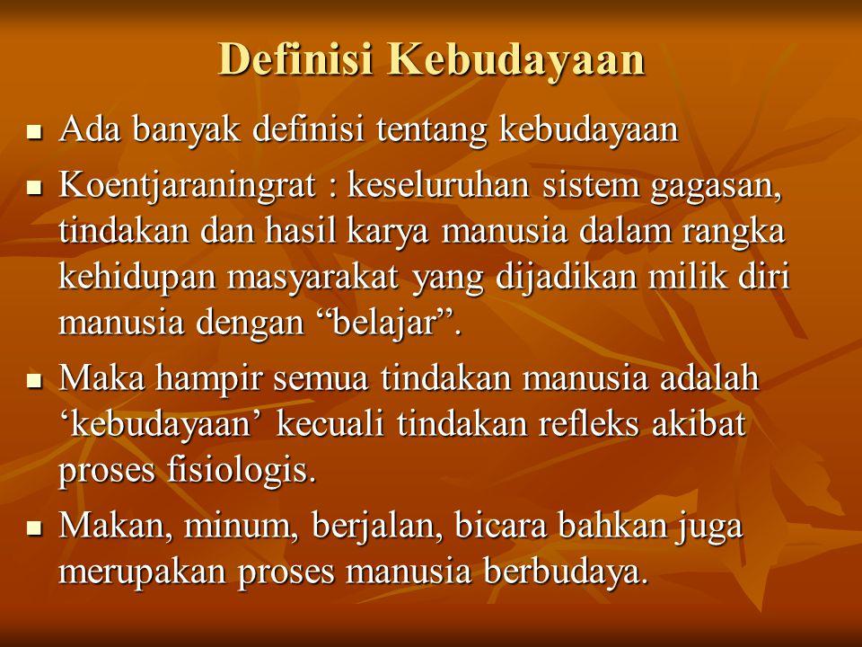 Definisi Kebudayaan Ada banyak definisi tentang kebudayaan Ada banyak definisi tentang kebudayaan Koentjaraningrat : keseluruhan sistem gagasan, tinda