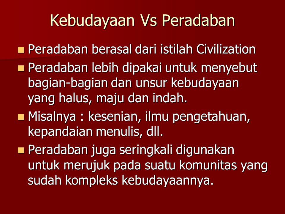 Kebudayaan Vs Peradaban Peradaban berasal dari istilah Civilization Peradaban berasal dari istilah Civilization Peradaban lebih dipakai untuk menyebut