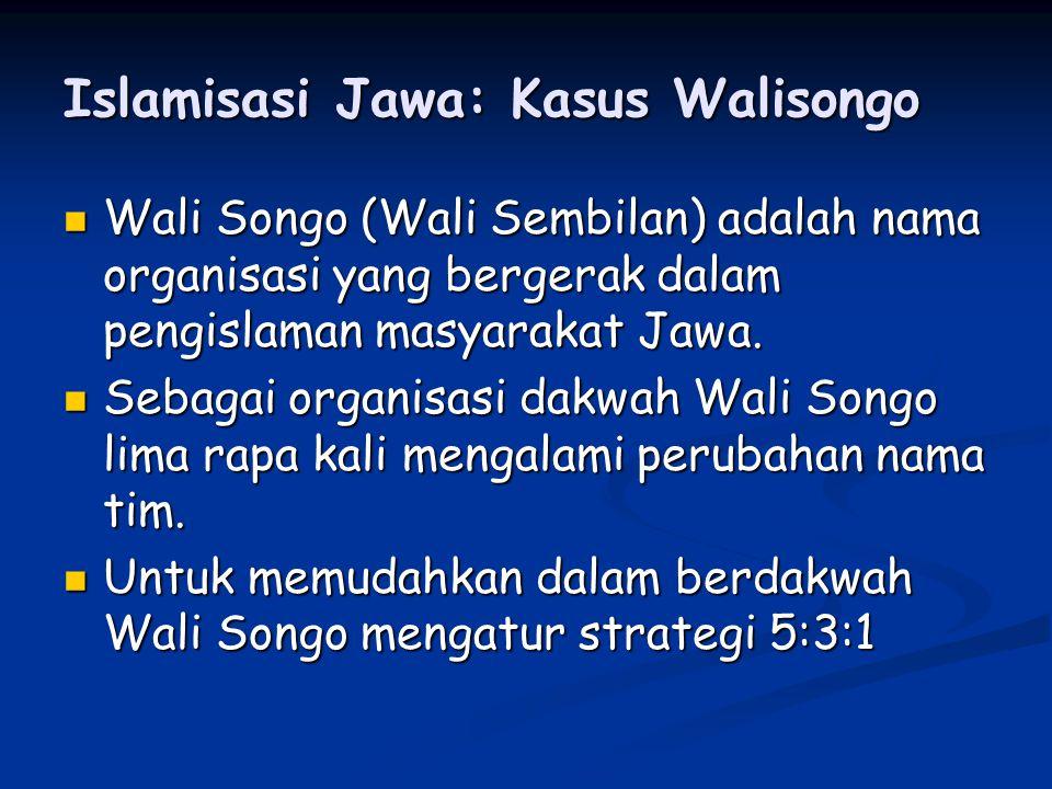 Islamisasi Jawa: Kasus Walisongo Wali Songo (Wali Sembilan) adalah nama organisasi yang bergerak dalam pengislaman masyarakat Jawa.