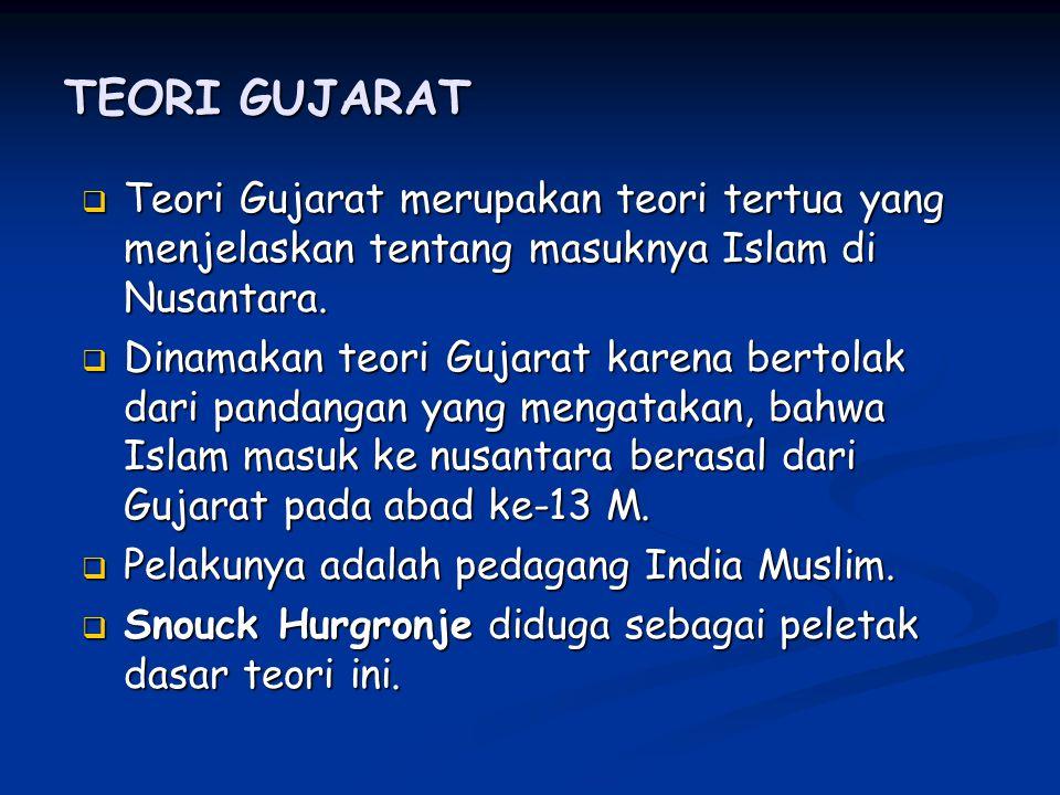 TEORI GUJARAT TTTTeori Gujarat merupakan teori tertua yang menjelaskan tentang masuknya Islam di Nusantara.