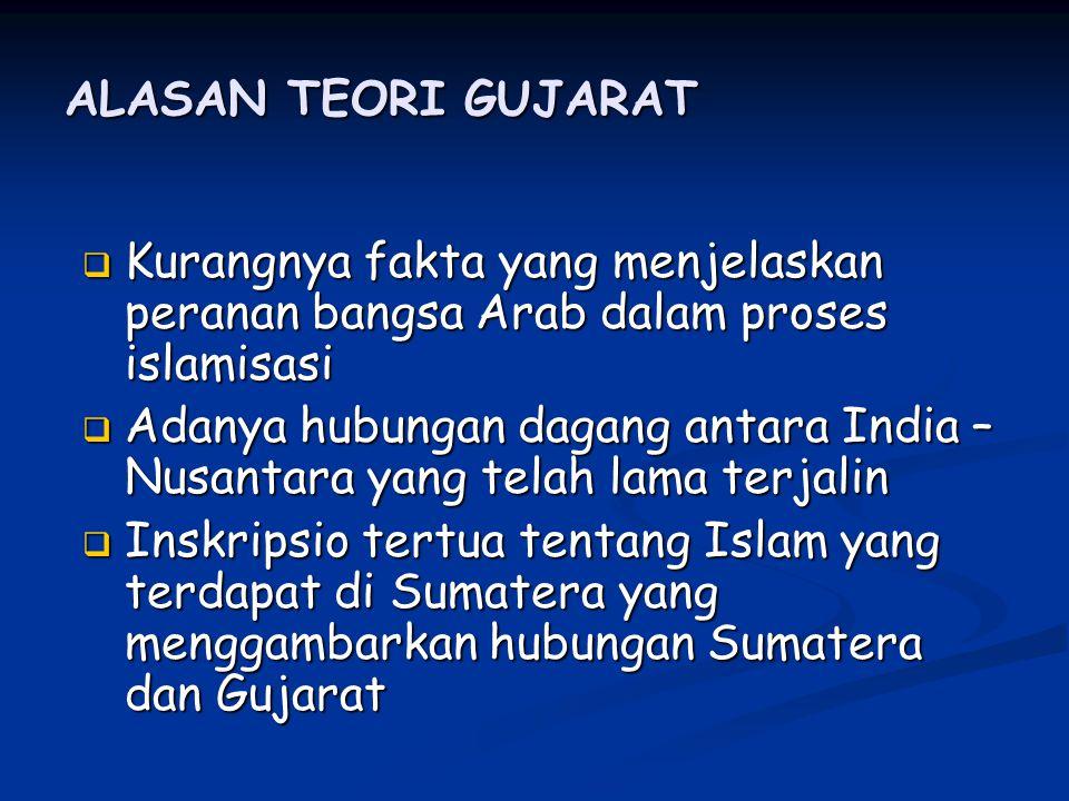 ALASAN TEORI GUJARAT KKKKurangnya fakta yang menjelaskan peranan bangsa Arab dalam proses islamisasi AAAAdanya hubungan dagang antara India – Nusantara yang telah lama terjalin IIIInskripsio tertua tentang Islam yang terdapat di Sumatera yang menggambarkan hubungan Sumatera dan Gujarat