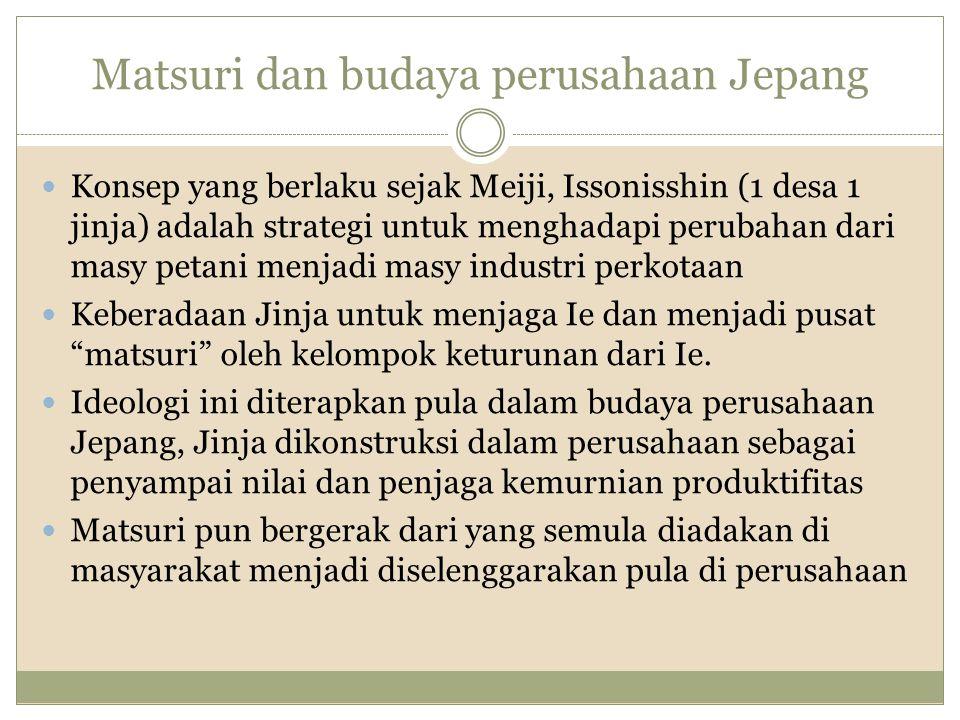 Matsuri dan budaya perusahaan Jepang Konsep yang berlaku sejak Meiji, Issonisshin (1 desa 1 jinja) adalah strategi untuk menghadapi perubahan dari mas