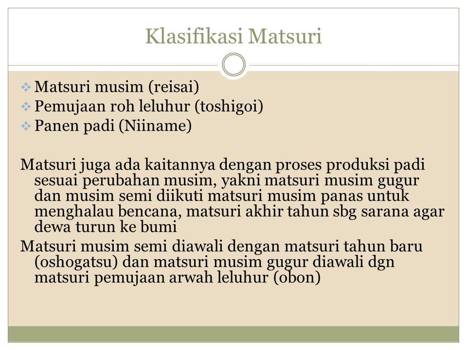 Klasifikasi Matsuri  Matsuri musim (reisai)  Pemujaan roh leluhur (toshigoi)  Panen padi (Niiname) Matsuri juga ada kaitannya dengan proses produks