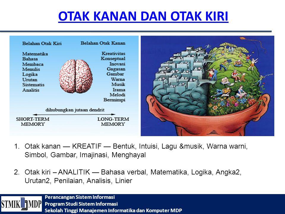 Perancangan Sistem Informasi Program Studi Sistem Informasi Sekolah Tinggi Manajemen Informatika dan Komputer MDP OTAK KANAN DAN OTAK KIRI 1.Otak kana