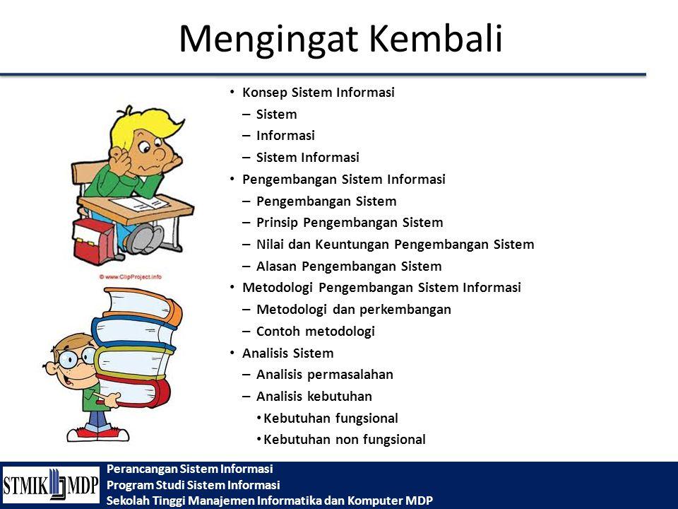 Perancangan Sistem Informasi Program Studi Sistem Informasi Sekolah Tinggi Manajemen Informatika dan Komputer MDP Mengingat Kembali Konsep Sistem Info
