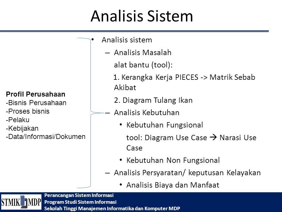 Perancangan Sistem Informasi Program Studi Sistem Informasi Sekolah Tinggi Manajemen Informatika dan Komputer MDP Analisis Sistem Analisis sistem – Analisis Masalah alat bantu (tool): 1.