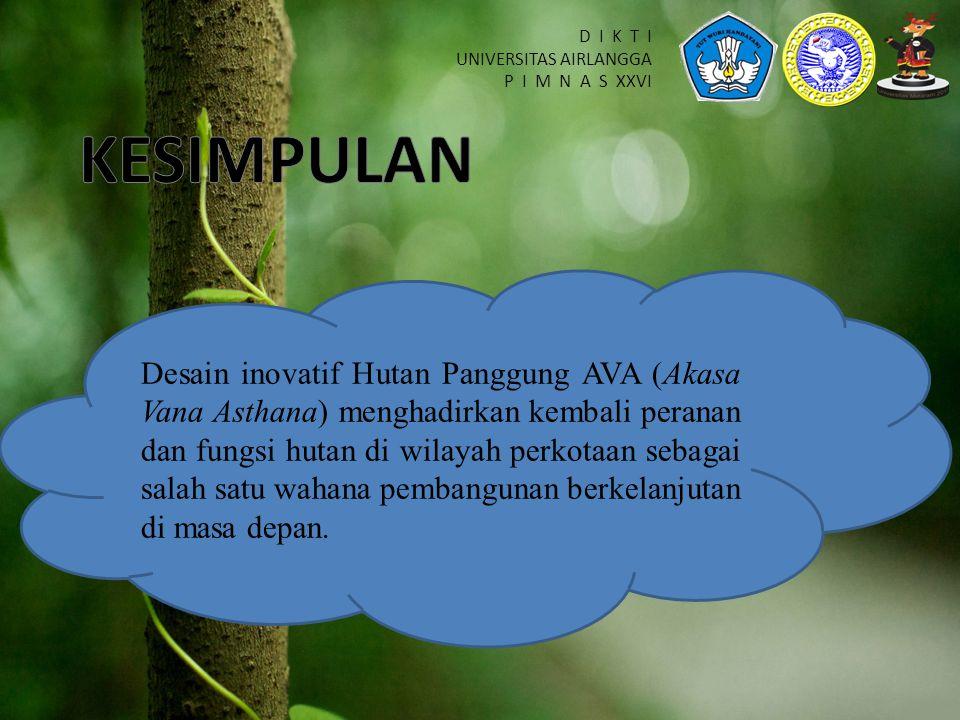 D I K T I UNIVERSITAS AIRLANGGA P I M N A S XXVI Desain inovatif Hutan Panggung AVA (Akasa Vana Asthana) menghadirkan kembali peranan dan fungsi hutan di wilayah perkotaan sebagai salah satu wahana pembangunan berkelanjutan di masa depan.