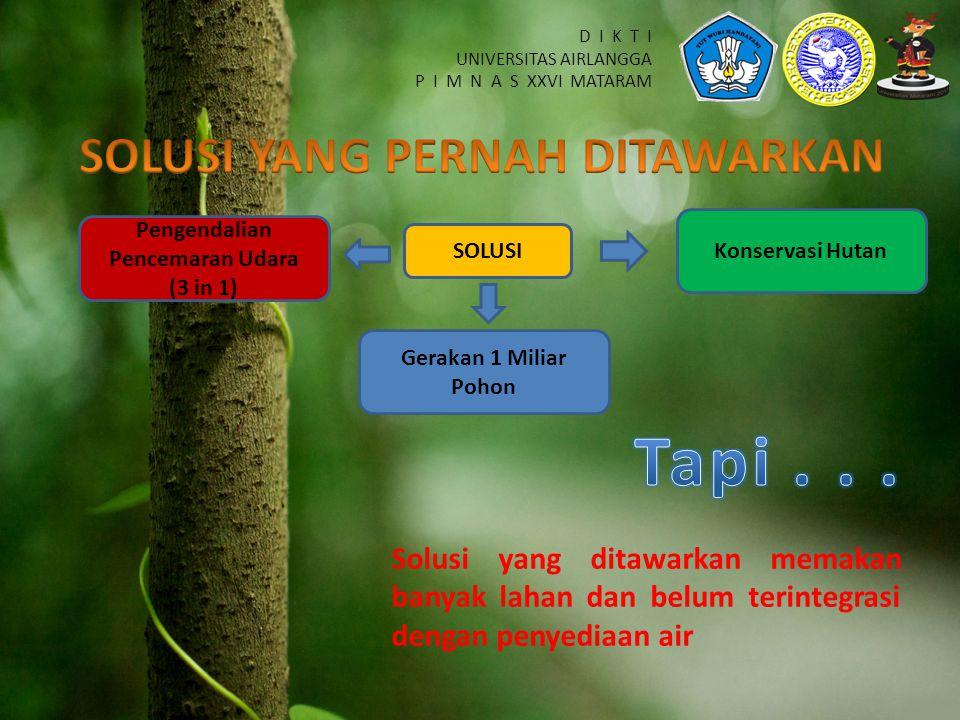 D I K T I UNIVERSITAS AIRLANGGA P I M N A S XXVI MATARAM SOLUSI Pengendalian Pencemaran Udara (3 in 1) Gerakan 1 Miliar Pohon Konservasi Hutan Solusi yang ditawarkan memakan banyak lahan dan belum terintegrasi dengan penyediaan air
