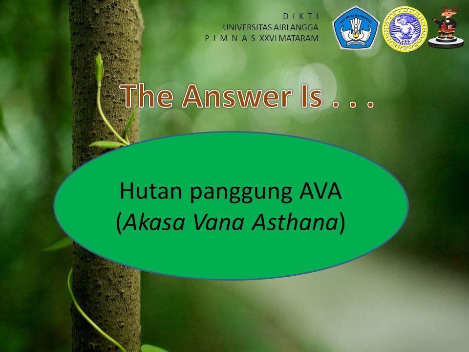 D I K T I UNIVERSITAS AIRLANGGA P I M N A S XXVI MATARAM Hutan panggung AVA (Akasa Vana Asthana)