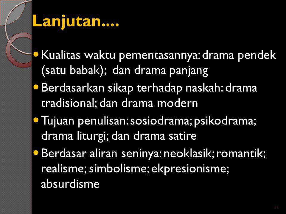 Lanjutan.... Kualitas waktu pementasannya: drama pendek (satu babak); dan drama panjang Berdasarkan sikap terhadap naskah: drama tradisional; dan dram