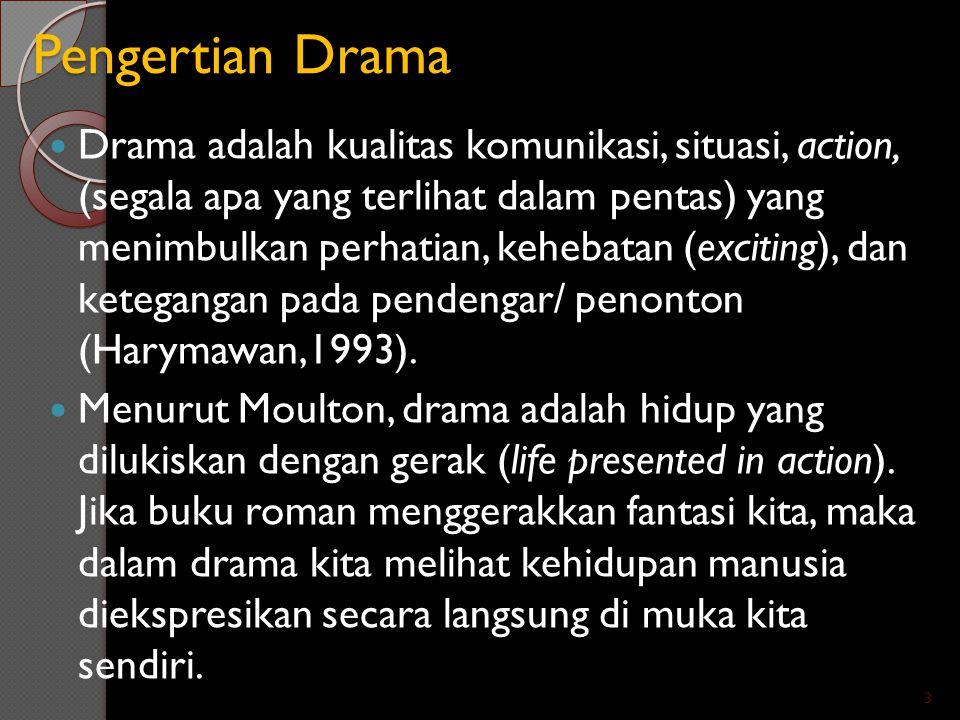 Pengertian Drama Drama adalah kualitas komunikasi, situasi, action, (segala apa yang terlihat dalam pentas) yang menimbulkan perhatian, kehebatan (exc