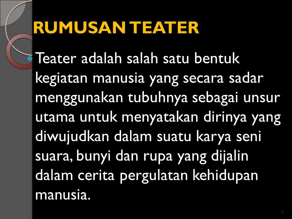RUMUSAN TEATER Teater adalah salah satu bentuk kegiatan manusia yang secara sadar menggunakan tubuhnya sebagai unsur utama untuk menyatakan dirinya ya