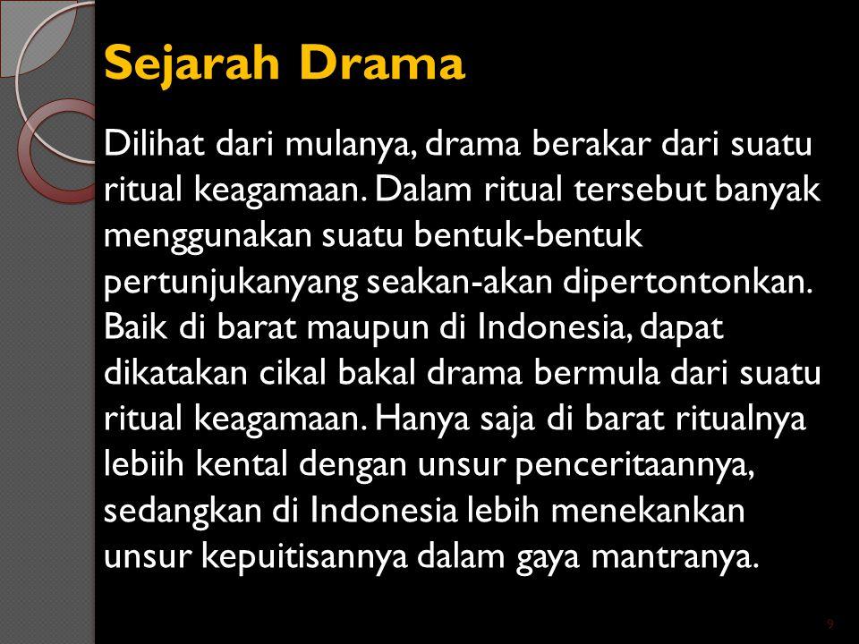 Sejarah Drama Dilihat dari mulanya, drama berakar dari suatu ritual keagamaan. Dalam ritual tersebut banyak menggunakan suatu bentuk-bentuk pertunjuka
