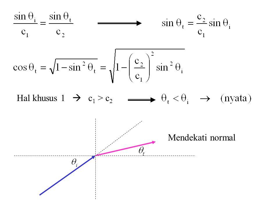 Hal khusus 1  c 1 > c 2 Mendekati normal
