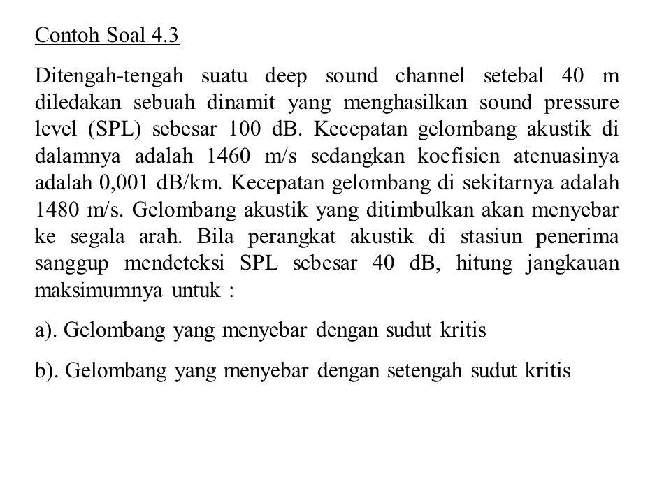 Contoh Soal 4.3 Ditengah-tengah suatu deep sound channel setebal 40 m diledakan sebuah dinamit yang menghasilkan sound pressure level (SPL) sebesar 10