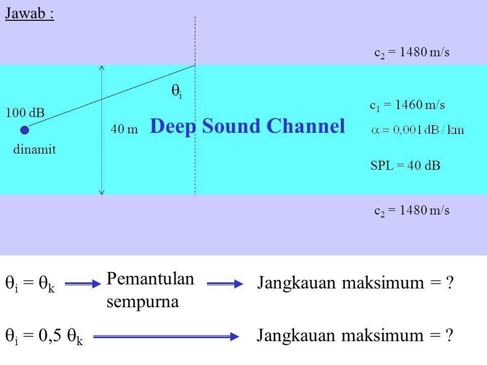 40 m c 2 = 1480 m/s c 1 = 1460 m/s c 2 = 1480 m/s dinamit 100 dB SPL = 40 dB Deep Sound Channel Jangkauan maksimum = ? ii  i =  k Pemantulan sempu