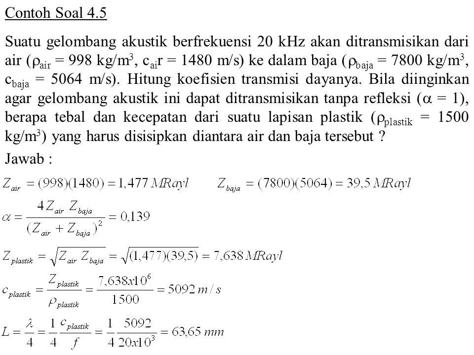 Contoh Soal 4.5 Suatu gelombang akustik berfrekuensi 20 kHz akan ditransmisikan dari air (  air = 998 kg/m 3, c ai r = 1480 m/s) ke dalam baja (  ba