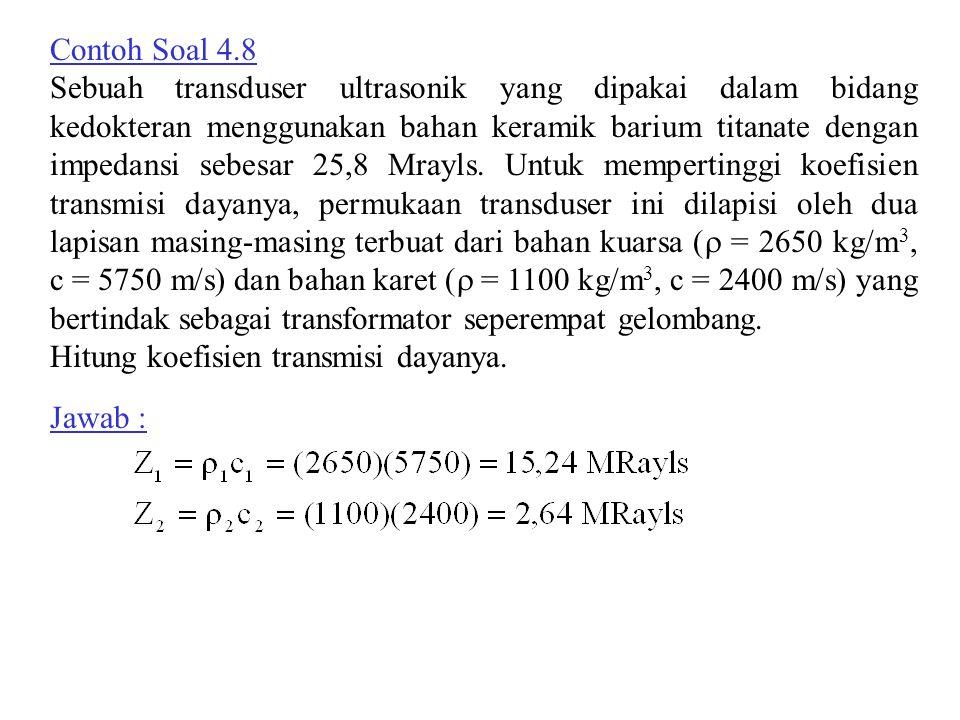Contoh Soal 4.8 Sebuah transduser ultrasonik yang dipakai dalam bidang kedokteran menggunakan bahan keramik barium titanate dengan impedansi sebesar 2