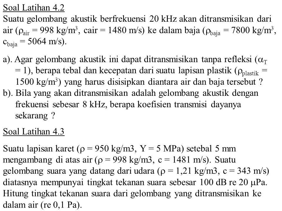 Soal Latihan 4.2 Suatu gelombang akustik berfrekuensi 20 kHz akan ditransmisikan dari air (  air = 998 kg/m 3, cair = 1480 m/s) ke dalam baja (  baj