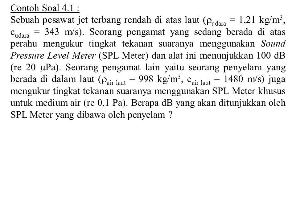 Contoh Soal 4.1 : Sebuah pesawat jet terbang rendah di atas laut (  udara = 1,21 kg/m 3, c udara = 343 m/s). Seorang pengamat yang sedang berada di a