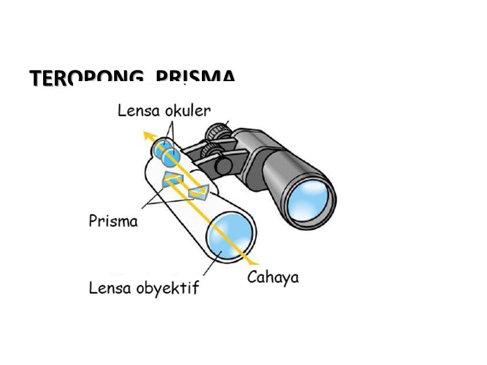 Lensa ObyektifLensa Okuler f ob2fp d = f ob + 4 fp + f ok M a = f ob S ok PPerbesaran TEROPONG BUMI Lensa Pembalik 2fpfok Untuk mata tidak berakomodasi Sifat bayangan Maya Diperbesar Tegak