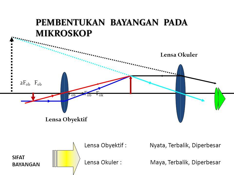 Mikroskop Lensa okuler Pengatur Jarak/ fokus Lensa obyektif Meja preparat Cermin cekung Mikroskop adalah alat optik yang digunakan untuk melihat benda- benda mikroskopis (sangat kecil) Mikroskop menggunakan dua buah lensa cembung, yaitu lensa okuler dan lensa objektif.