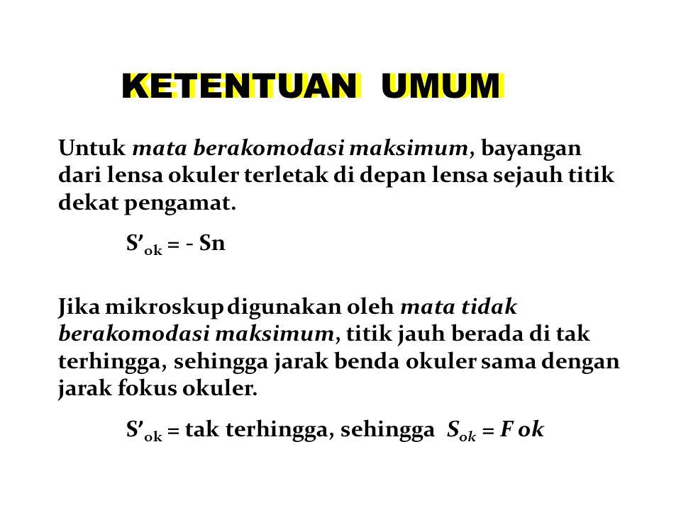 2F ob F ob F ob 2F ob F ok S ob S' ob 1 S ob + 1 S' ob = 1 f ob S ok d = S' ob + S ok S' ok 1 S ok + 1 S' ok = 1 f ok M = M ob x M ok Perbesaran :