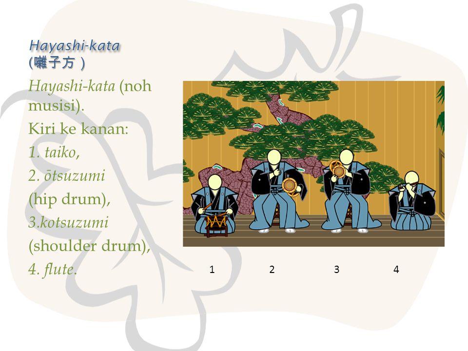 Hayashi-kata ( 囃子方) Hayashi-kata (noh musisi). Kiri ke kanan: 1. taiko, 2. ōtsuzumi (hip drum), 3.kotsuzumi (shoulder drum), 4. flute. 1 2 3 4