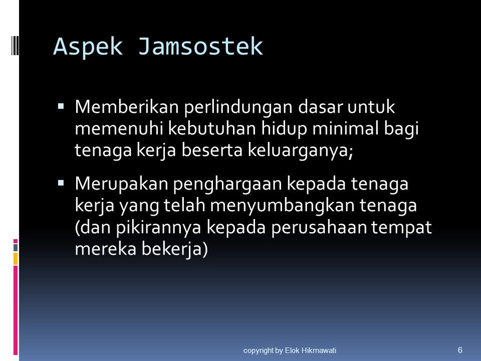 Aspek Jamsostek  Memberikan perlindungan dasar untuk memenuhi kebutuhan hidup minimal bagi tenaga kerja beserta keluarganya;  Merupakan penghargaan